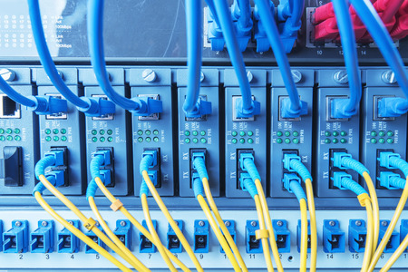 tcp ip: Fiber Optic cables connected to an optic ports