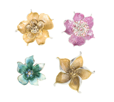 jewel: flower brooches on white background