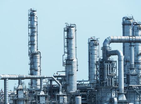 huile: usine de traitement de gaz. paysage avec l'industrie du gaz et du pétrole