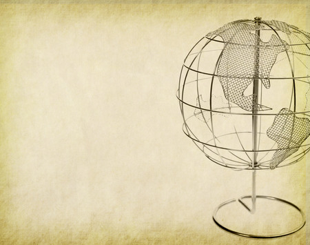 oldened: Earth globe on Old antique vintage paper background