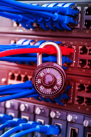 data link: network and data protection concept with padlock and switch