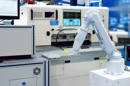 factory automation: Controler of robotic hand Stock Photo