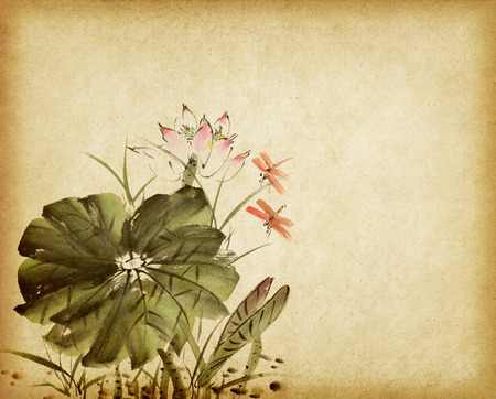 china watercolor paint: Chinese painting of a Lotus on old Paper Background