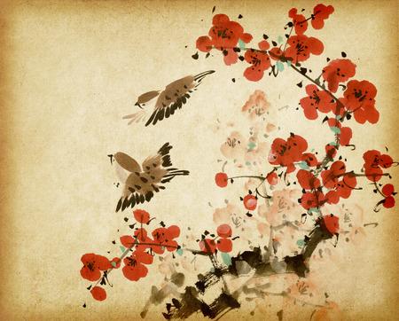 古いビンテージ紙の背景に中国の伝統的な絵画梅春花