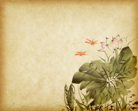 watercolor brush: Chinese painting of a Lotus on old Paper Background