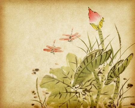 古い紙の背景に蓮の中国絵画