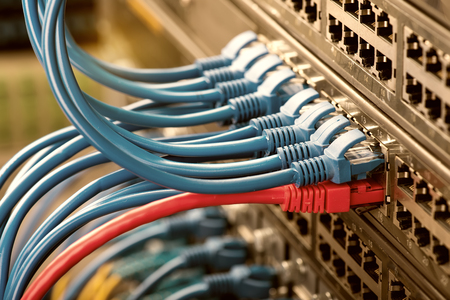 telecommunications: Network switch and ethernet cables,Data Center Concept.