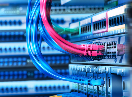 network concept, fiber Optic cables connected Stock Photo