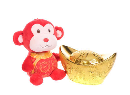 figuration: Chinese lunar new year ornaments toy of monkey on white background