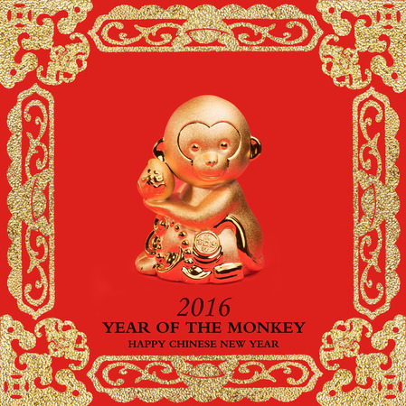 monkey silhouette: 2016 is year of the monkey,Gold monkey,Chinese calligraphy translation:monkey.Red stamps which Translation: good bless for new year