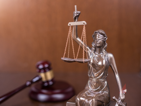scales thin: Statue of justice and Wooden gavel