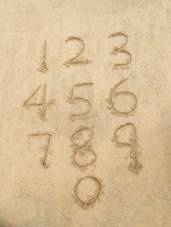 Number 4: Numbers from one to ten written on a sandy beach.