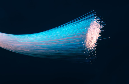 fibres: optical fibres dinamic flying from deep on technology background