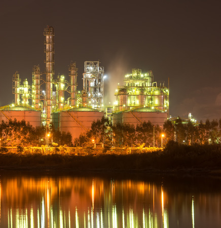 industrial industry: Refinery industrial plant with Industry boiler at night Stock Photo