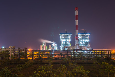boiling tube: Refinery industrial plant with Industry boiler at night Editorial