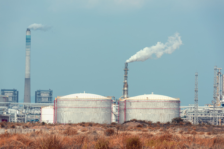 oil industry: gas processing factory. landscape with gas and oil industry
