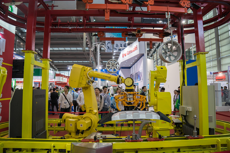 swarf: SHENZHEN - MARCH 30: International Machinery Manufacturing Industry Exhibition is one of the mainland's largest and most influential machinery show. on march 30, 2015 in Shenzhen, China.