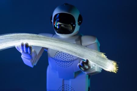 robot and fiber optic Stock Photo