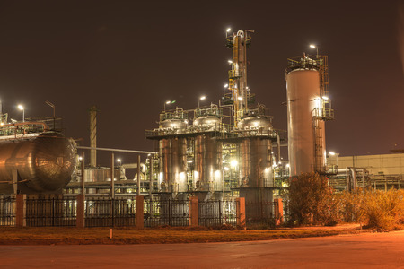 metal processing: Refinery industrial plant with Industry boiler at night Stock Photo