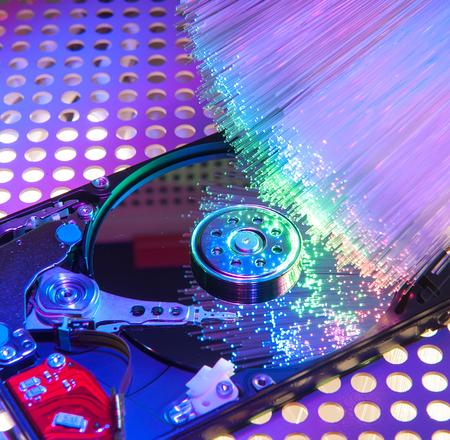 databank: harddisk with fiber optical background