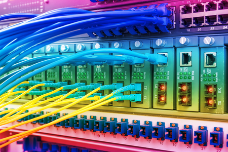 switch: Technology center with fiber optic equipment Stock Photo