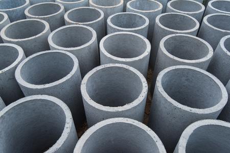 cement pile: Concrete pipe Stock Photo