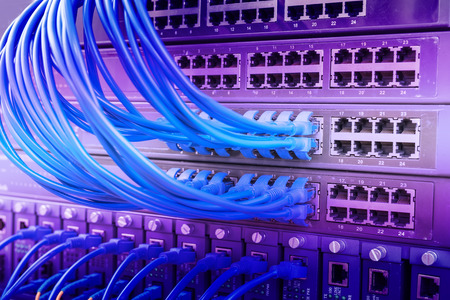 ethernet: Network switch and ethernet cables,Data Center Concept.