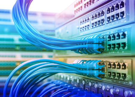 ethernet cable: Network switch and ethernet cables,Data Center Concept.