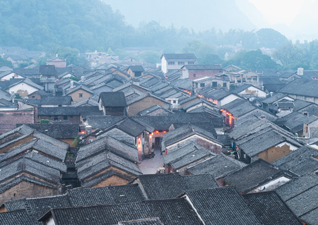 foothill: historic interest in china guangxi huangyao Stock Photo
