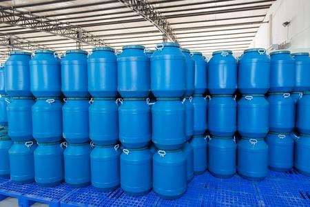 contain: Blue Plastic barrels contain