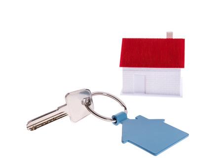 accommodation broker: house key isolated on white Stock Photo