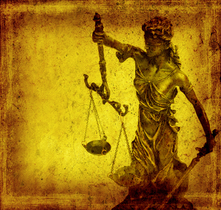 lady silhouette: Statue of justice on old paper background, law concept