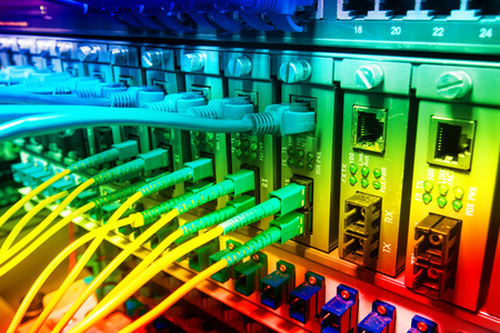 fiber cable: Technology center with fiber optic equipment Stock Photo