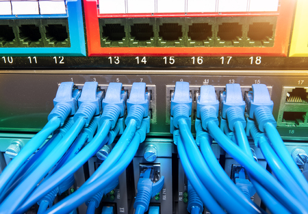 network switch: Network switch and cables,Data Center Concept.