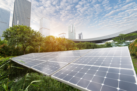 Solar Panels In The Park Of Modern City Foto de archivo