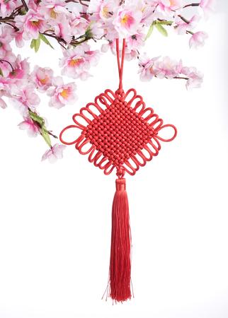 nudos: Nudo chino tradicional, caligrafía significa feliz año nuevo