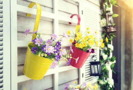 a plant: Hanging Flower Pots with fence Stock Photo
