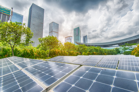 Solar Panels In The Park Of Modern City 스톡 콘텐츠