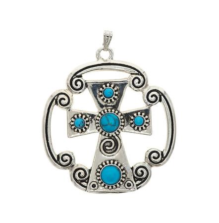 metaphysical: vintage cross pendant isolated on white background