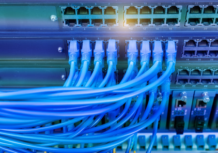 network port: network cables connected in network switches