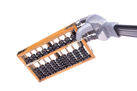 artificial: artificial robot hand with abacus