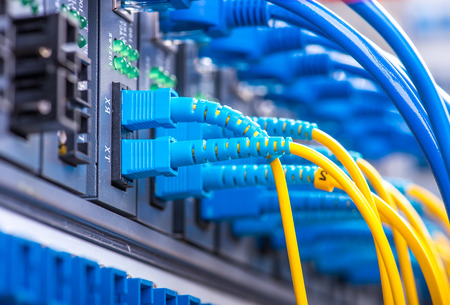 Technology center with fiber optic equipment 스톡 콘텐츠
