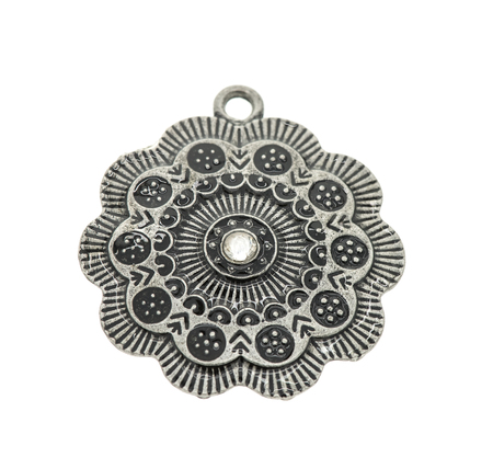 copper texture: Vintage pendant isolated on white