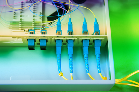 Technology center with fiber optic equipment Editorial