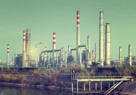 oil and gas industry: gas processing factory. landscape with gas and oil industry