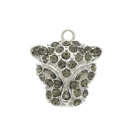 broach: pendant leopard isolated on white