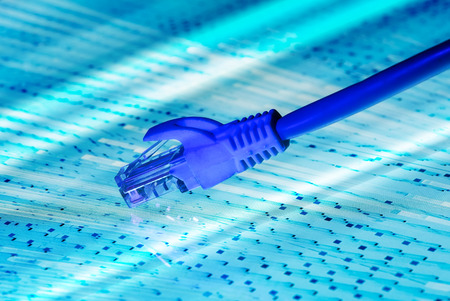 high tech: network cable with high tech technology color background