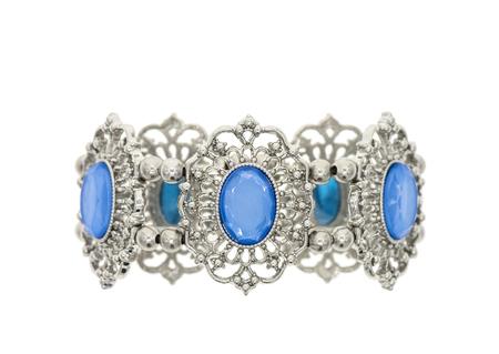 elaborate: Bracelet with blue stones isolated on white