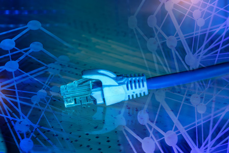 telecommunications: Network switch and cables,Data Center Concept.
