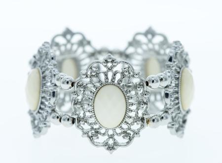 stones isolated: Bracelet with white stones isolated on white